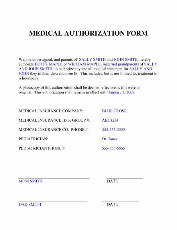 Medical Authorization form Template Awesome Medical Authorization form