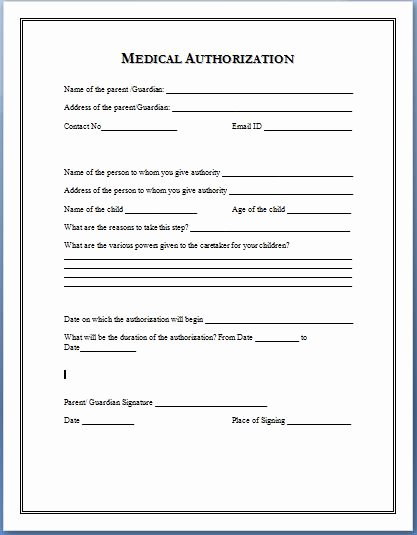Medical Authorization form Template Best Of Sample Medical Authorization form Templates