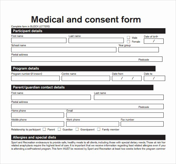 Medical Authorization form Template Best Of Sample Medical Consent form 13 Free Documents In Pdf