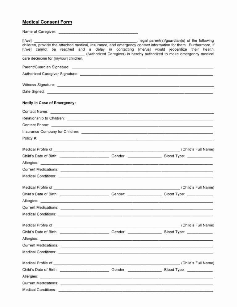 Medical Authorization form Template Elegant 45 Medical Consent forms Free Printable Templates