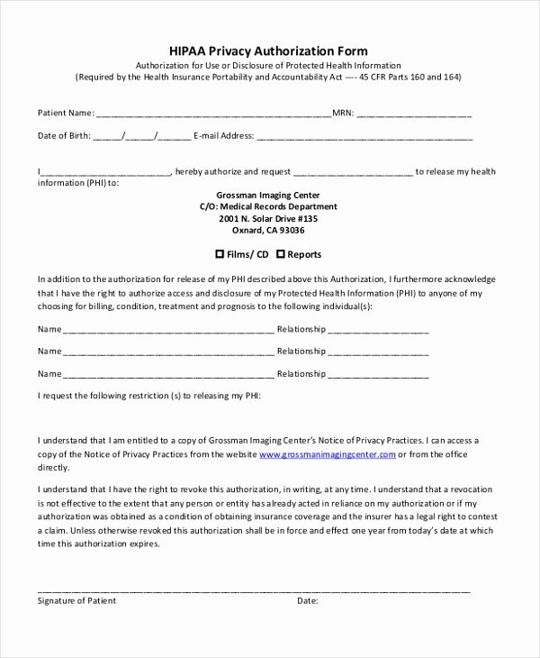 Medical Authorization form Template Elegant Free 9 Sample Hipaa Authorization forms In Pdf