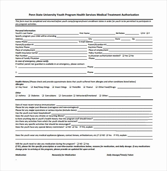 Medical Authorization form Template Fresh Sample Medical Authorization form 12 Download Free