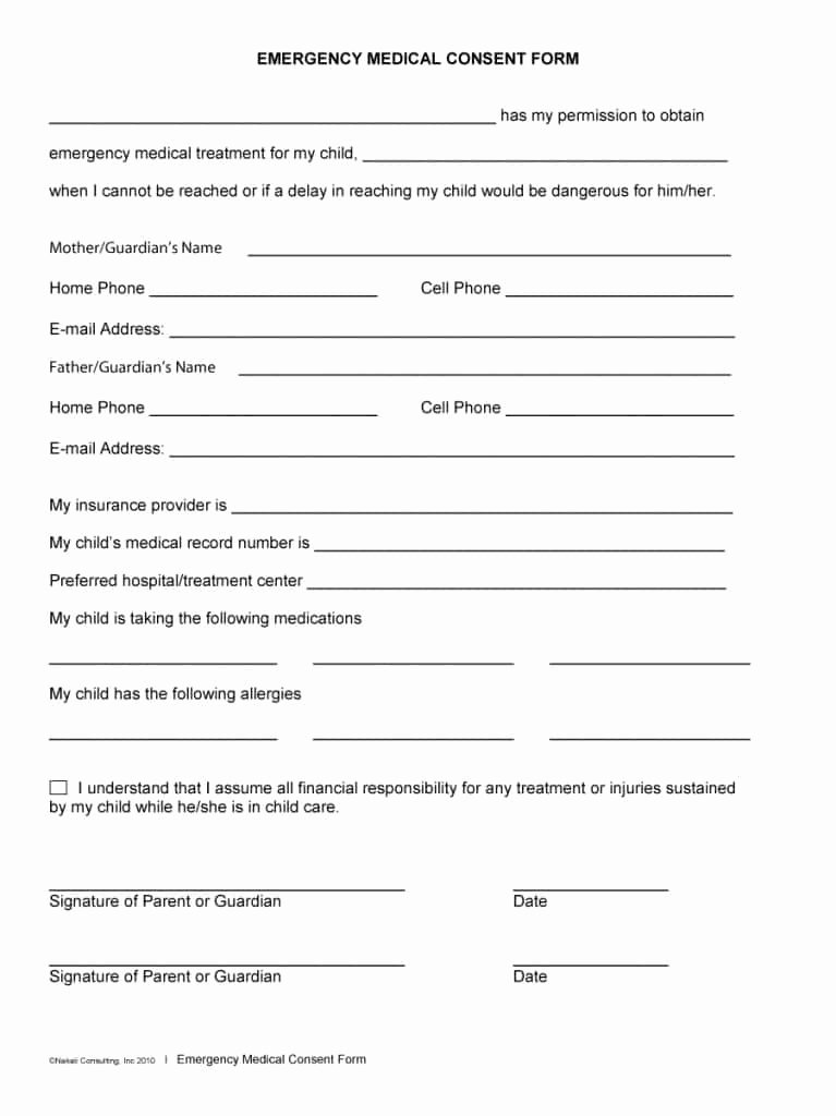 Medical Consent form Templates Beautiful 45 Medical Consent forms Free Printable Templates