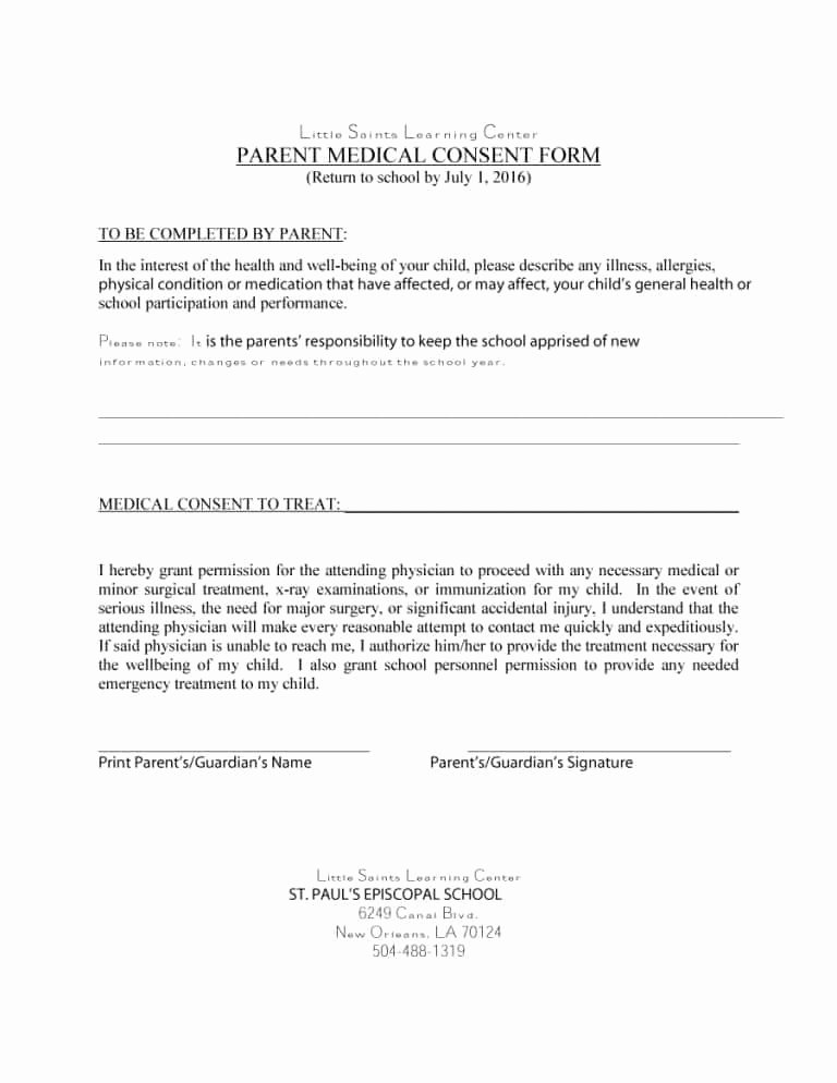 Medical Consent form Templates Best Of 45 Medical Consent forms Free Printable Templates