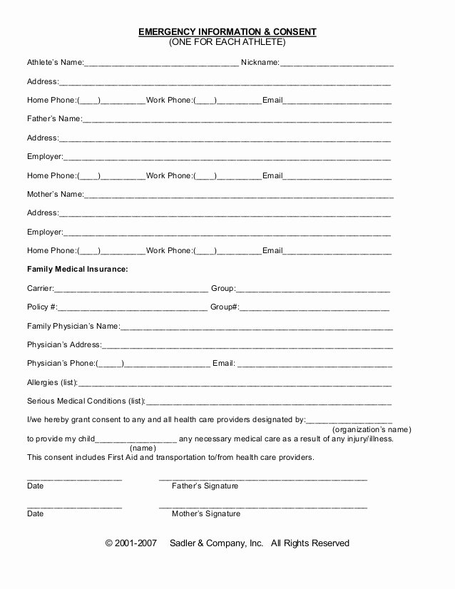 Medical Consent form Templates Elegant Emergency Information Medical Consent form