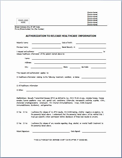Medical Consent form Templates Inspirational Sample Medical Authorization form Templates