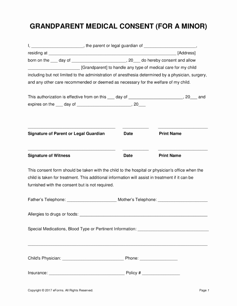 Medical Consent form Templates Lovely Grandparents' Medical Consent form – Minor Child