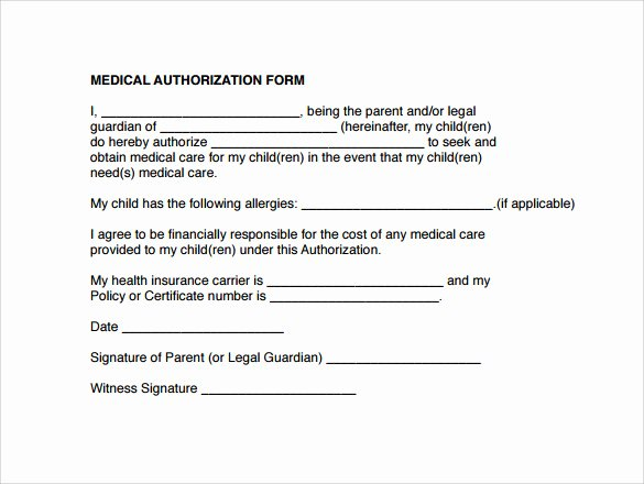 Medical Consent form Templates Luxury Sample Medical Authorization form 12 Download Free
