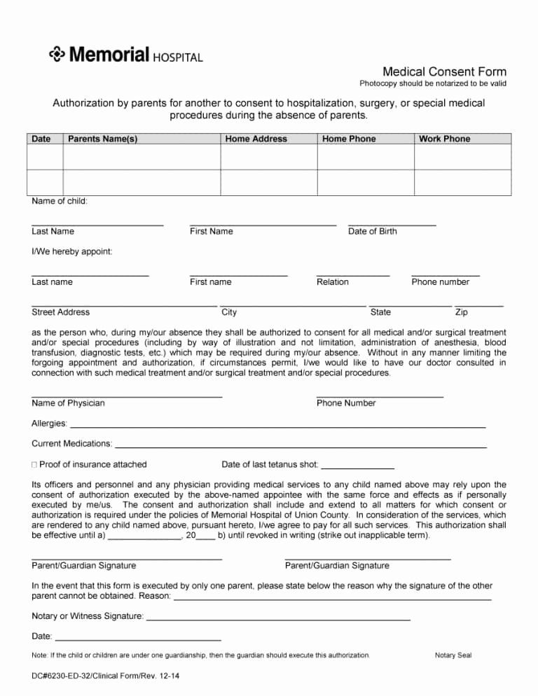Medical Consent form Templates New 45 Medical Consent forms Free Printable Templates
