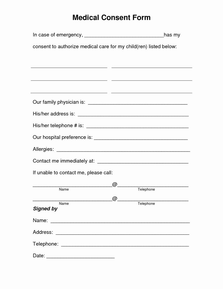 Medical Consent form Templates New Free Printable Medical Consent form