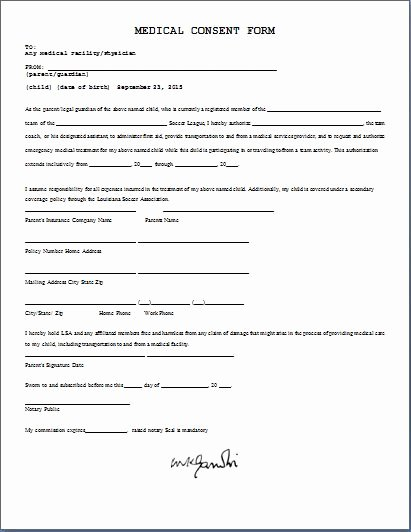 Medical Consent form Templates Unique Printable Ms Word Parent Consent forms
