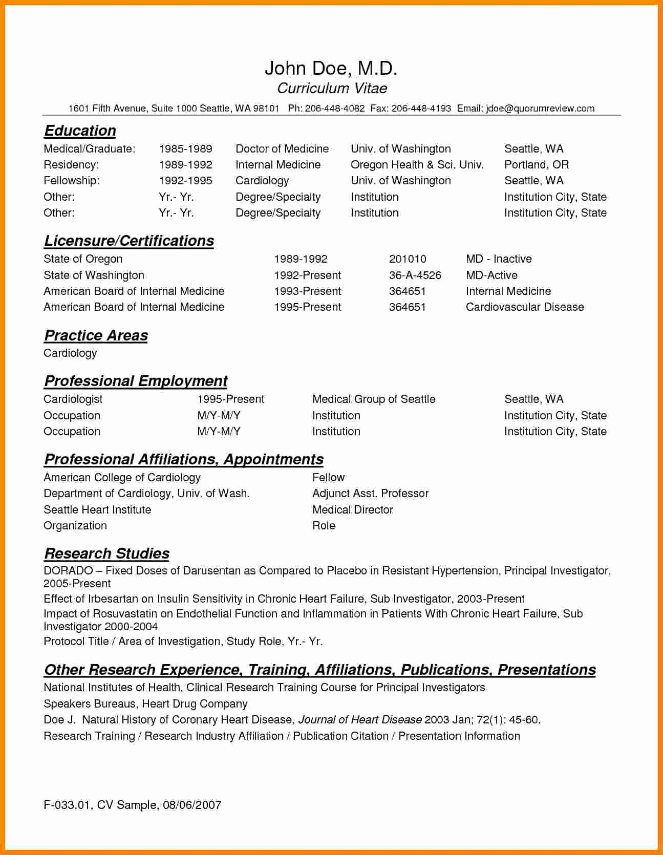 Medical Cv Template Word Awesome 9 Cv Template for Doctors