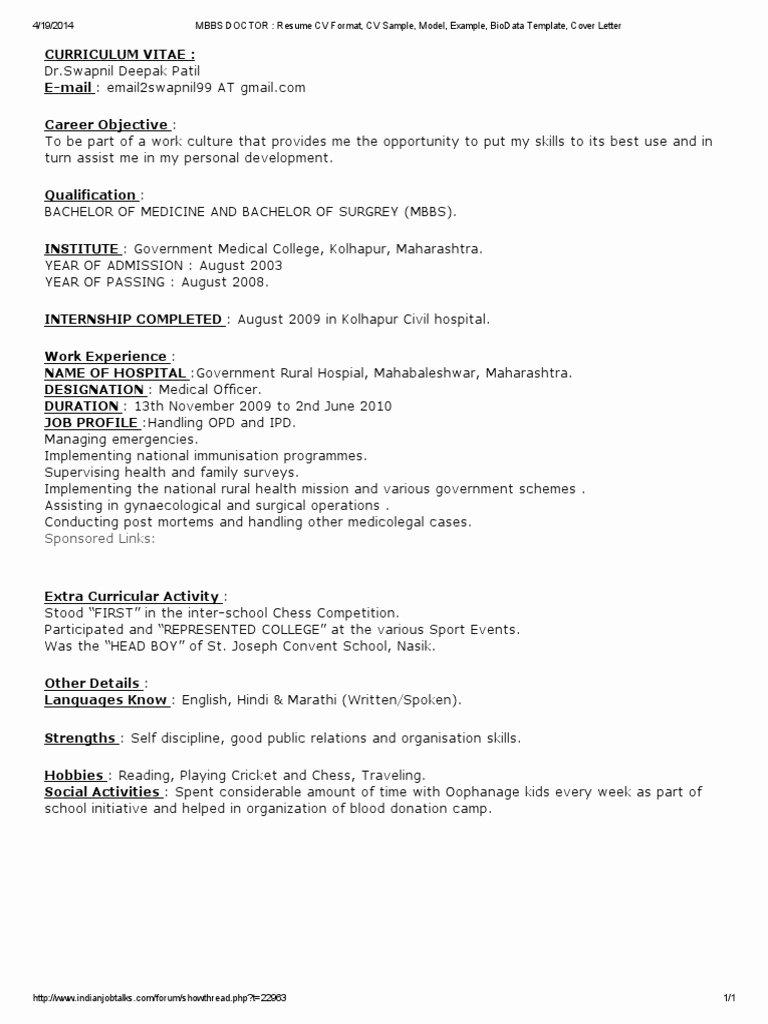 Medical Cv Template Word Best Of Mbbs Doctor Resume Cv format Cv Sample Model Example