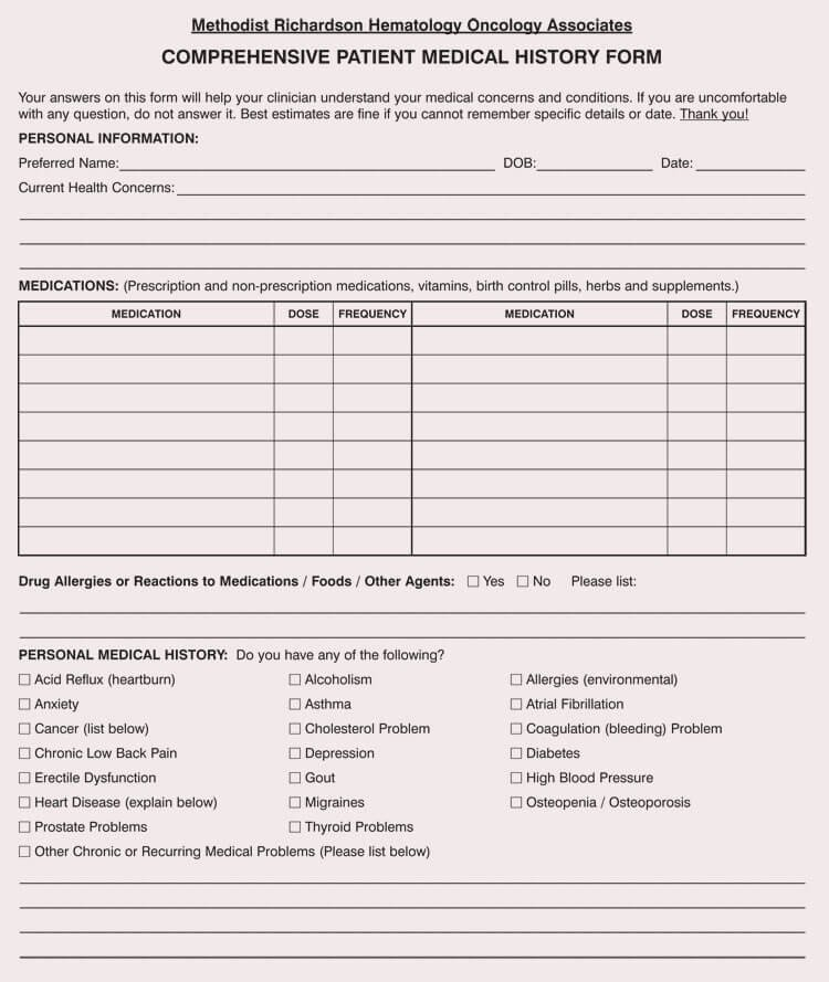 Medical History form Template Elegant General Medical History forms Free [word Pdf]