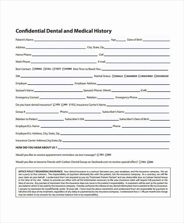 Medical History form Template Elegant Medical History form 9 Free Pdf Documents Download