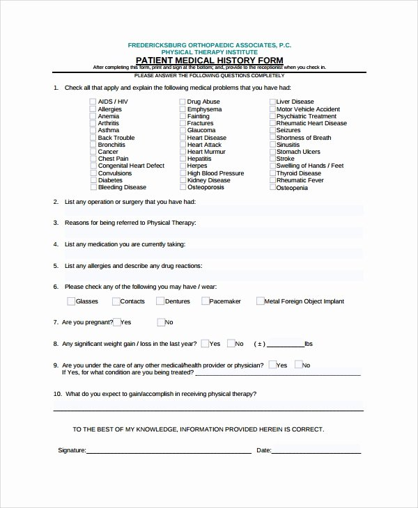 Medical History form Template Luxury Sample Medical History Template 9 Free Documents