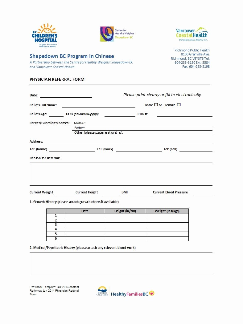 Medical Referral forms Template Best Of 50 Referral form Templates [medical & General] Template Lab