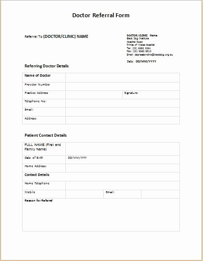 Medical Referral forms Template Fresh Doctor Referral form Templates