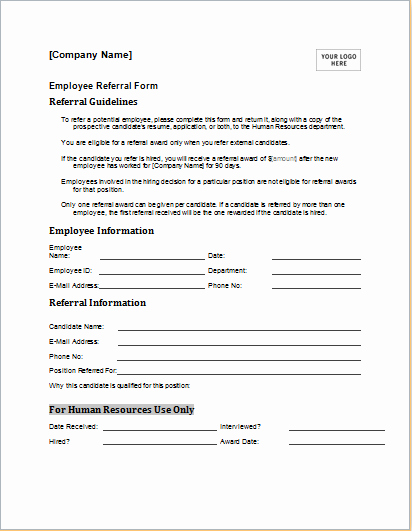 Medical Referral forms Template New Employee Referral form Template for Ms Word