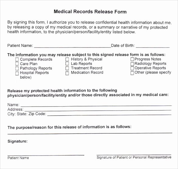Medical Release forms Template Awesome Sample Medical Records Release form 9 Download Free