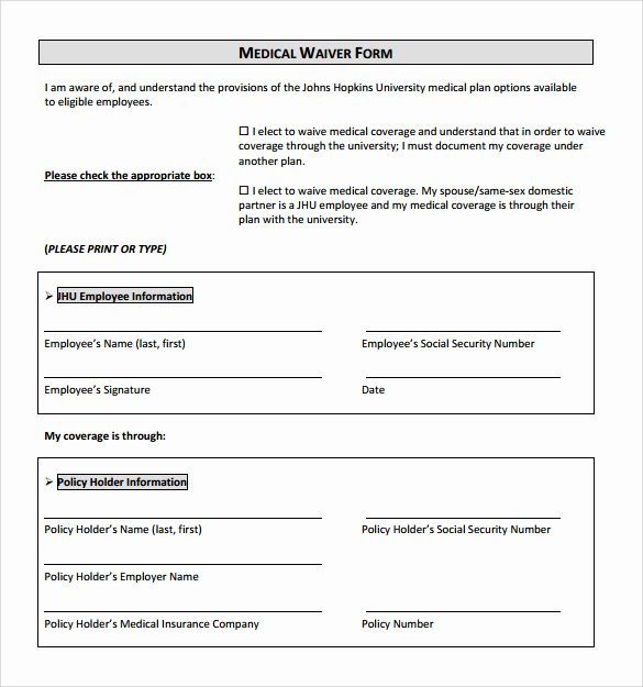Medical Release forms Template Beautiful 10 Medical Waiver forms Free Sample Example format