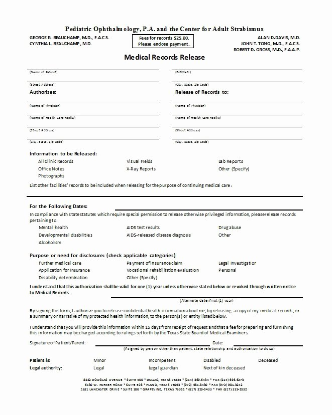 Medical Release forms Template Beautiful 30 Medical Release form Templates Free Template Downloads