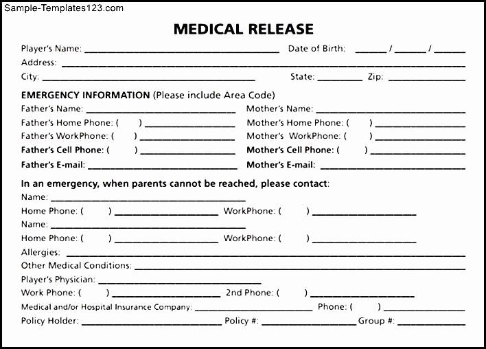 Medical Release forms Template Beautiful Medical Release form