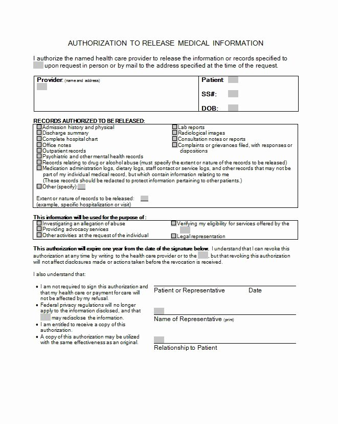 Medical Release forms Template Elegant 30 Medical Release form Templates Template Lab