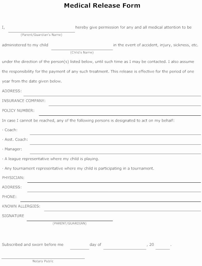 Medical Release forms Template Inspirational Medical Release form for Child Free Printable Documents