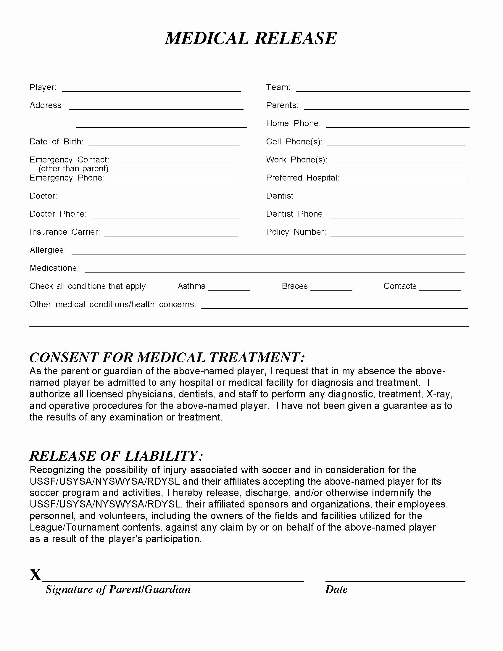 Medical Release forms Template Lovely Medical Release form – Templates Free Printable