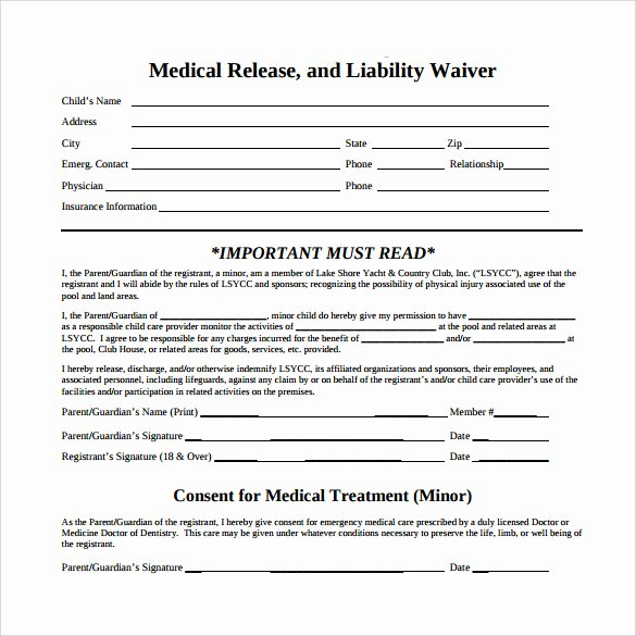 Medical Release forms Template Luxury 10 Medical Waiver forms Free Sample Example format