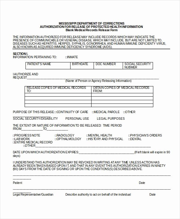 Medical Release forms Template New 10 Medical Release forms Free Sample Example format