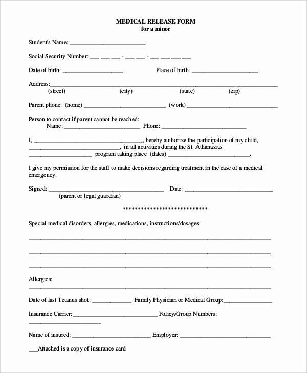 Medical Release forms Template Unique 47 Printable Release form Samples & Templates Pdf Doc