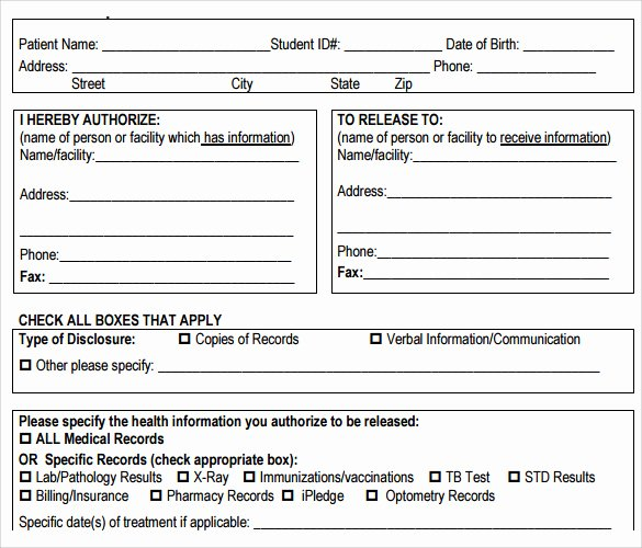 Medical Release forms Template Unique Sample Medical Records Release form 9 Download Free