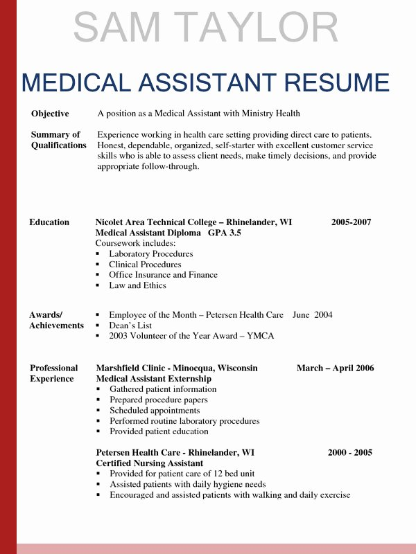 Medical Resume Template Free Awesome How to Write A Medical assistant Resume In 2016