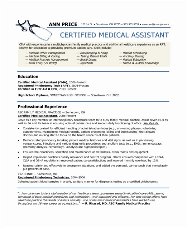 Medical Resume Template Free Best Of 10 Medical assistant Resume Templates Pdf Doc