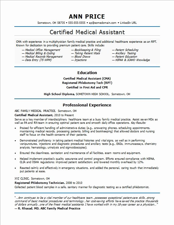 Medical Resume Template Free Best Of Medical assistant Resume Sample