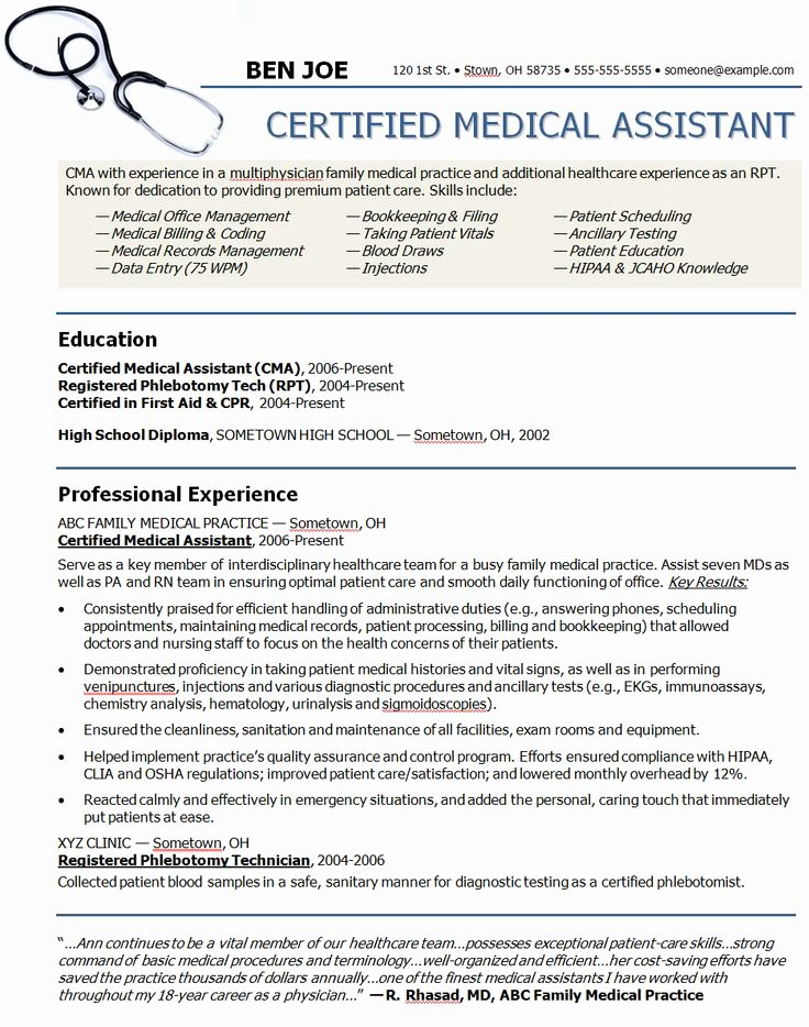 Medical Resume Template Free Best Of Medical assistant Sample Resume