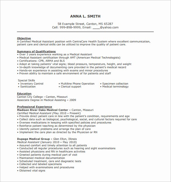 Medical Resume Template Free Best Of Medical Support assistant Resume – Emmamcintyrephotography