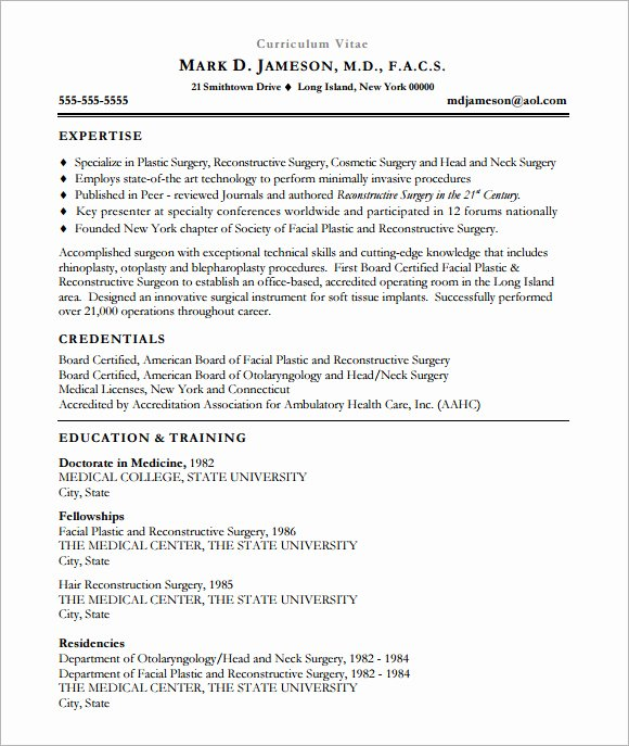 Medical Resume Template Free Best Of Sample Medical Cv Template 7 Download Documents In Pdf