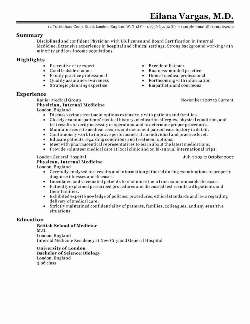 Medical Resume Template Free Fresh 24 Amazing Medical Resume Examples