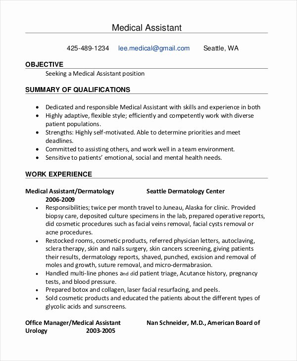 Medical Resume Template Free Luxury 10 Medical assistant Resume Templates Pdf Doc