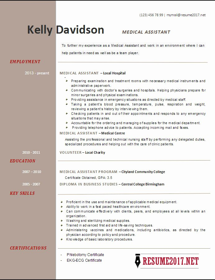 Medical Resume Template Free Luxury top 6 Medical assistant Resume Templates 2017