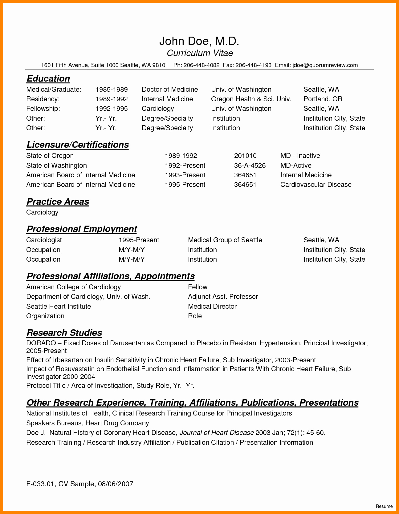 Medical Resume Template Free New 8 Curriculum Vitae for Doctors Sample