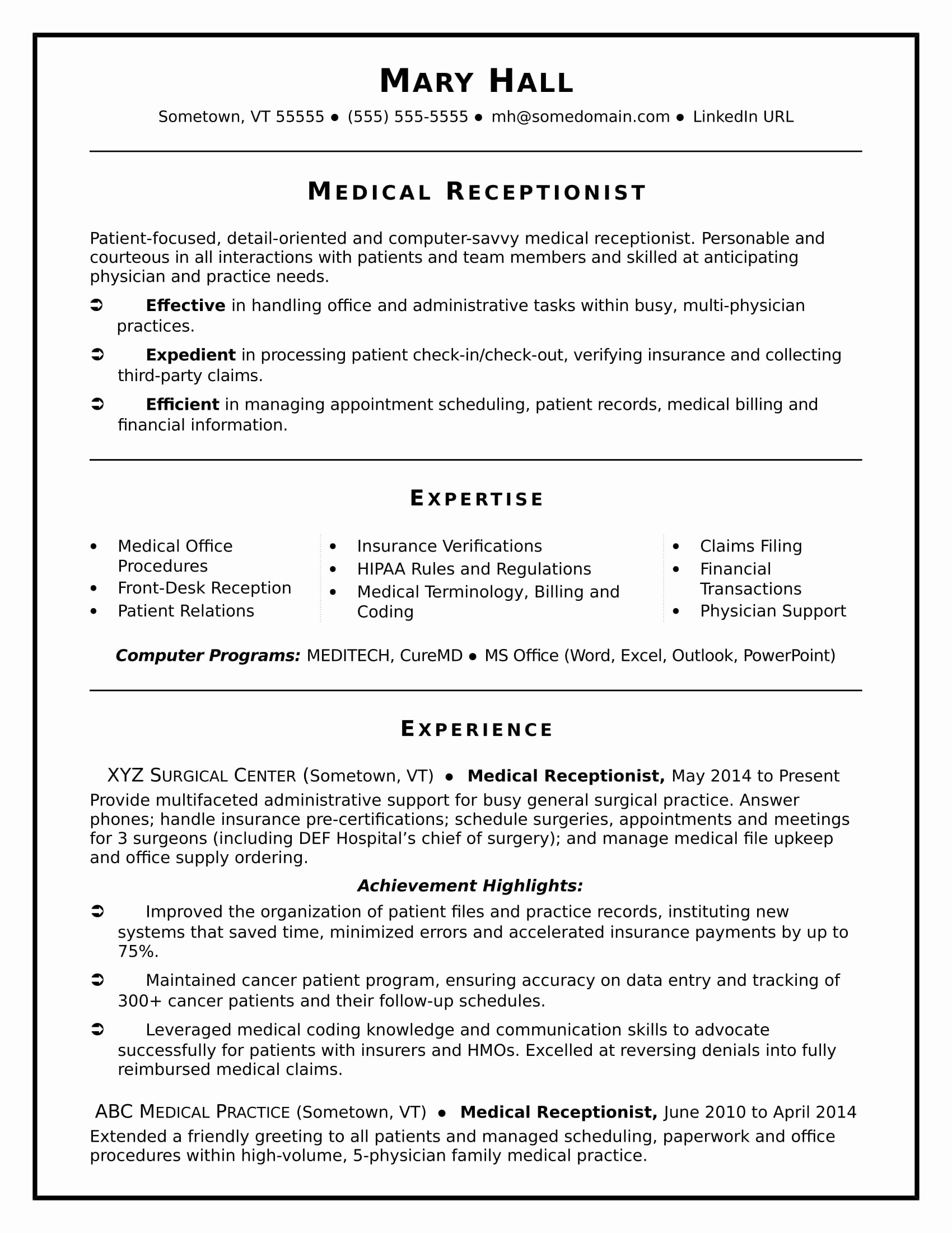 Medical Resume Template Free New Medical Receptionist Resume Sample