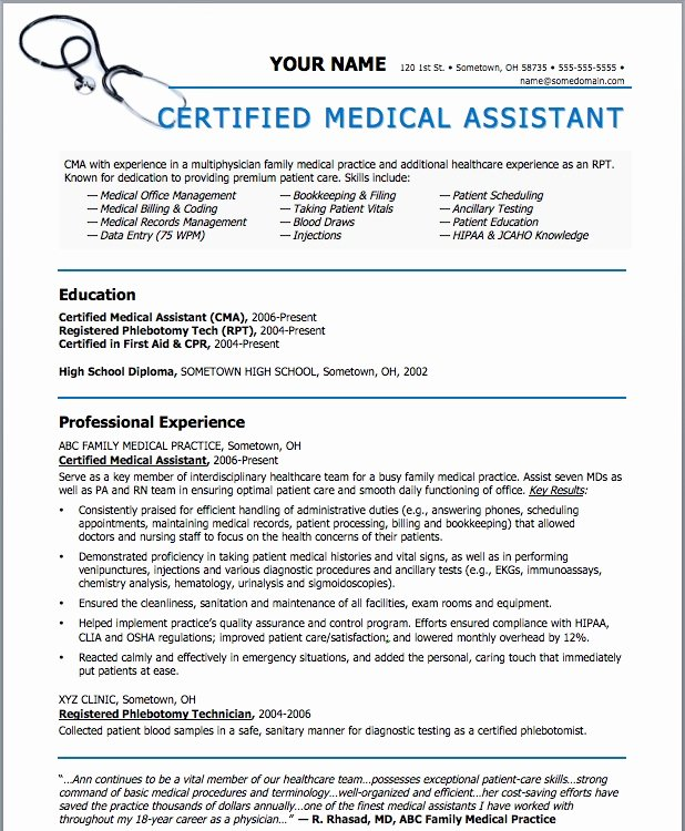 Medical Resume Template Free New Sample Resumes for Medical assistant