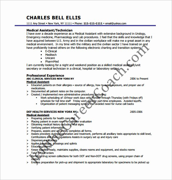 Medical Resume Template Free Unique 7 Medical assistant Resume Templates Doc Excel Pdf