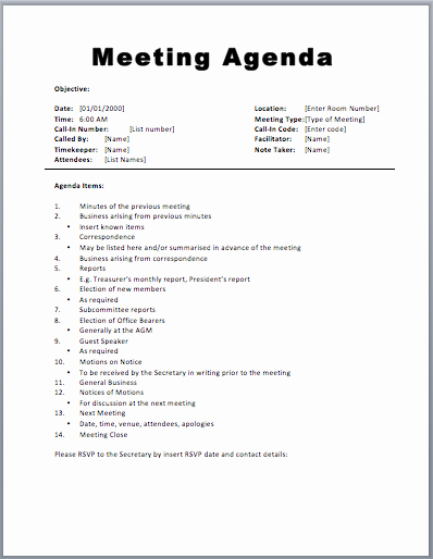 Meeting Agenda Template Word Awesome Excellent Sample Of Agenda Template Word for General