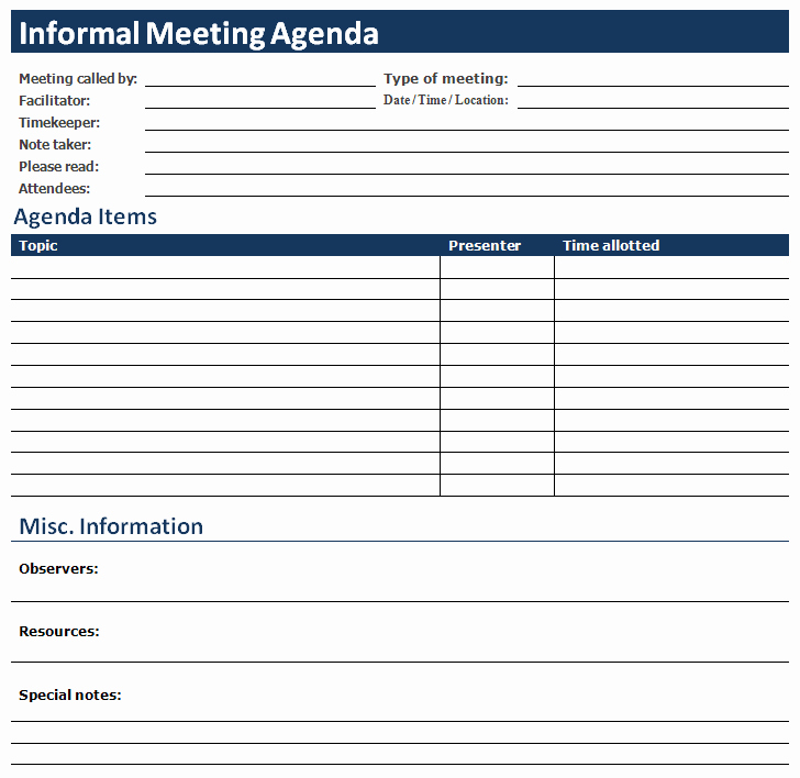 Meeting Agenda Template Word Elegant Ms Word Informal Meeting Agenda