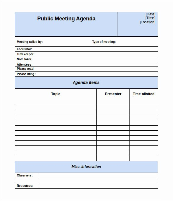 Meeting Agenda Template Word Inspirational 50 Meeting Agenda Templates Pdf Doc